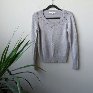 LOFT Embellished Scoop Neck Long Sleeve Sweater M